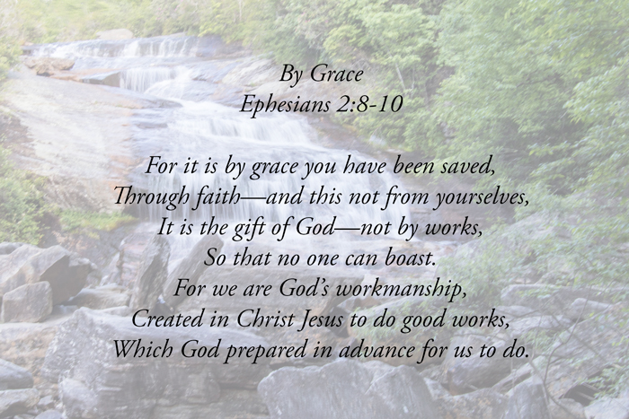Ephesians 2:8-10 with waterfall in background