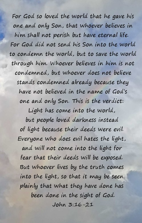 John 3:16-21 with rainbow in the background.